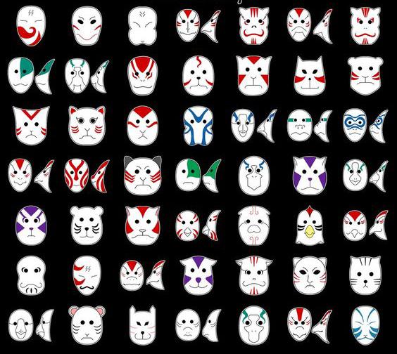 Mascaras anbu del anime de naruto