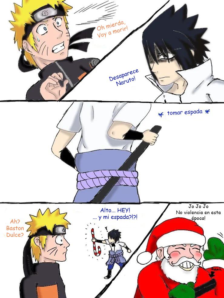 Navidad divertida Naruto N Sasuke. Memes de fan art Naruto
